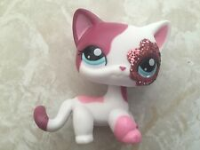 Littlest Pet Shop RARE Standing Cat #2291 Glitter Sparkle Red White Pink
