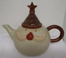 "CERAMIC SANTA TEA POT DECORATIVE CHRISTMAS 7 1/2"" TALL"