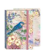 Punch Studio BLUEBIRD GARDEN Soft Cover Bungee Journal with Elastic Band Closure