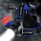 6000LM CREE XM-L T6 LED Headlamp Headlight Zoomable 3 Mode + 2x Battery +Charger