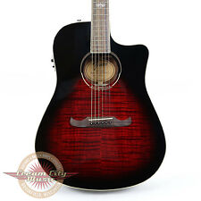 Fender T-Bucket 300ce Flame Maple Dreadnought Cutaway in Trans Cherry Burst Demo