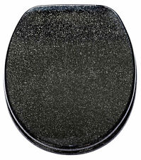 Black Glitter Toilet Seat Soft Closing Slow Close Adjustable Fittings UNIVERSAL