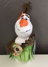 New with Tag Authentic Disney Store Olaf Hula Skirt and Ukulele 12 inches Plush