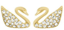 Swarovski Swan Mini Pierced Earrings Gold-Plated Clear Crystal Authentic 5083132