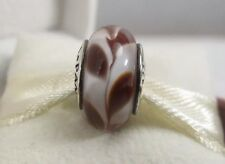 New w/Box Pandora Brown Swirly Swirl Murano Glass Charm # 790671 Bead Earthtones