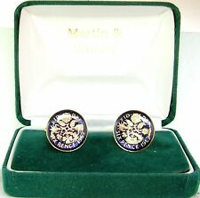 1962 6D cufflinks from real coins in Blue & Gold
