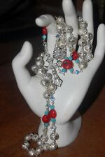 Handmade Beautiful Silver Engraved Balls w/ Coral & Turquoise Catholic Rosary