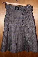 Nanette Lepore Women's 2 Brown Plaid Belted Ruched Button Skirt Wool Blend XS