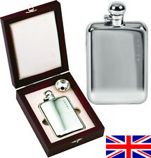 Hand Made Sterling Silver Sheffield Hip Flask 6oz Captive Top, Free Engraving