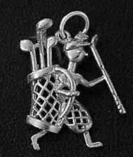 LOOK Golfer Player Sterling Silver .925 Golf clubs bag charm