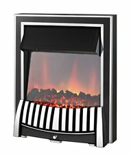 ELECTRIC 2KW CHROME BLACK MODERN TRADITIONAL LED  FIREPLACE INSET FIRE SURROUND
