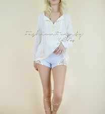 IVORY Peasant BABYDOLL Boho 70's Crochet Knit GYPSY HIPPIE Tunic Blouse Top S