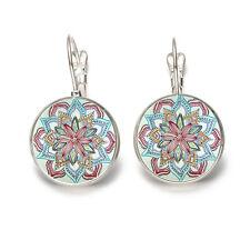 1 Pair Boho Mandala Flower Women Glass Round Flower Ear Stud Earrings Jewelry