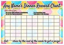 A4 Personalised Dinner Reward Chart - Pen & Star Stickers - Healthy Eating Kids