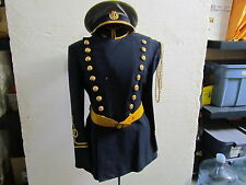 VINTAGE MENS MARCHING BAND UNIFORM SIZE SMALL NAVY BLUE WITH YELLOW ACCENTS