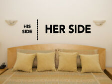 His Side Her Side Fun Bedroom Living Room Dining Decal Wall Art Sticker Picture
