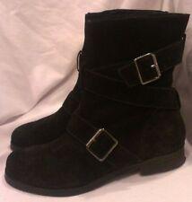 Pour La Victoire Black Moto Strap Buckle Leather Suede Short Boots Shoes 9.5