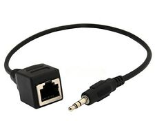 """RJ45 Female Ethernet LAN Network cable to DC 3.5mm (1/8"""") Male Jack Audio Cable"""