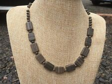 Brown Marble Rounds and Flat Rectangles Handmade Beaded Necklace w/ Silver Glass