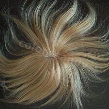 Human Hair Toupee 100% Echthaar Toupet Haarteil Clip in Extensions Dunkelblond