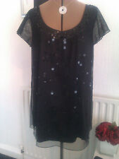 Per Una Size 18 lovely black sequin detailed top & belt