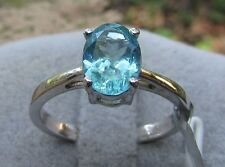 1.36 cts Genuine Blue Apatite Solitaire Size 7 Ring in 925 Sterling Silver
