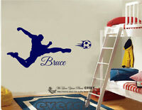 Soccer Shooting Custom Personalised Name Wall Stickers Boys Decal Nursery Decor