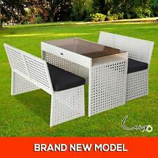 Modern PE Wicker Outdoor Bench Dining Set Glass Table Chair Garden Setting White
