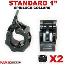 "1"" STANDARD WEIGHT LIFTING BARBELL DUMBELL BAR SPIN-LOCK COLLAR CLAMPS X 2"