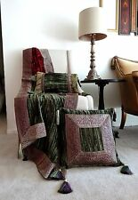 Luxury Velvet Reversible Throw-Olive, Maroon,Gold with two cushion set NWOT.