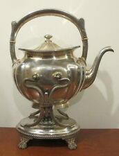 Antique mid-1800s Gorham Silver Soldered Water Kettle 0750 On Stand With Burner