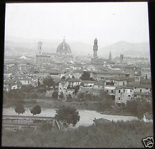 ROSCH Glass Magic lantern slide FLORENCE FROM THE BELVEDERE C1900 ITALY FIRENZE