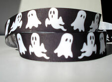 "Halloween Ghost 1"" grosgrain ribbon 4 yards holiday decorate crafts hair bows"