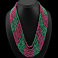 FINEST QUALITY 7 LINE 605.00 CTS EARTH MINED RUBY & EMERALD ROUNDS BEAD NECKLACE