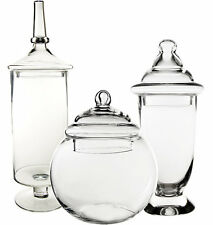 Apothecary Glass Candy Buffet Jar with Lid Set of 3 Wedding Floral Decoration