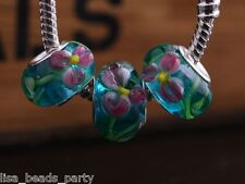 10pcs15X9mm Lampwork Glass Emboss Flower European Charm Big Hole Beads Lake Blue