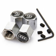 Audi Black Anti theft Metal Chrome Tyre Valve Dust Cap