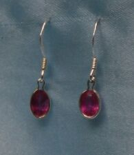 OVAL 6MM X 4MM BLOOD RED  RUBY STERLING SILVER DROPS-- app 1.0CTW