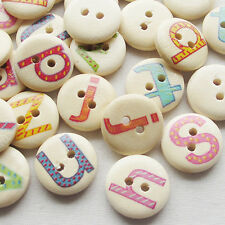 New 100pcs Alphabet Letter Wood Buttons 15mm Sewing Craft Mix Lots T0738