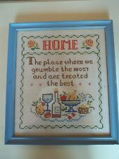 Vintage Cross Stitched Light Blue Framed Handcrafted Picture