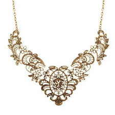 GOLD PLATED FILIGREE metal lace NECKLACE vintage style BIB collar