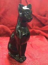 FLAWLESS Exquisite BACCARAT Art Black Crystal PUMA COUGAR EGYPTIAN CAT Figurine