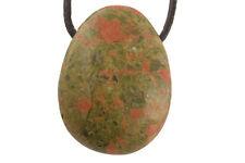 Pendentif unakite (pierre troucée) + cordon en cuir