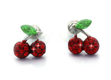 Small Red Cherry Fruit Charm Stud Post Earrings Women Jewelry Gift For Girls