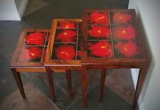 Rosewood & Inlaid Tile Nest of Tables - Denmark 1960's vintage  (Three tables)