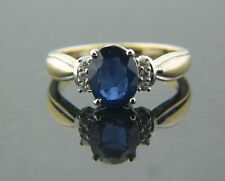 1.72 ct Genuine Oval Sapphire 0.09ct Diamond Ring set on two tone Gold mounting