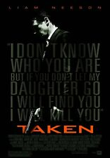 TAKEN Liam Neeson Maggie Grace Single Sided Original 27x40 Movie Poster