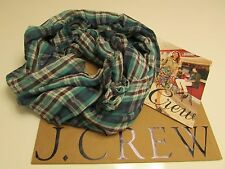 NEW  Authentic J.Crew TEAL PLAID SCARF