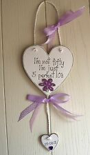 Birthday 50th Wooden Heart Plaque Friend add name Beautiful Gift