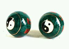 A set of Chinese BaoDing IRON Balls W/ Musical Chimes, Yin Yang Tai Ji